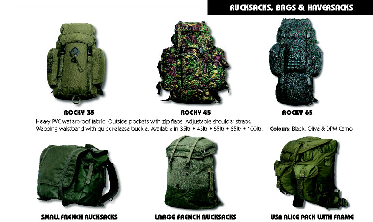 Rucksacks, Bags and Haversacks